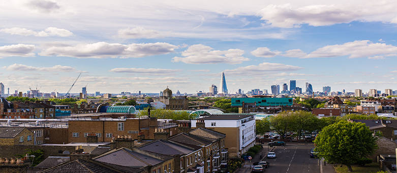 London skyline zoomed out