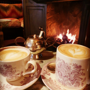 Cups of coffee by the fire - Chiltern Firehouse